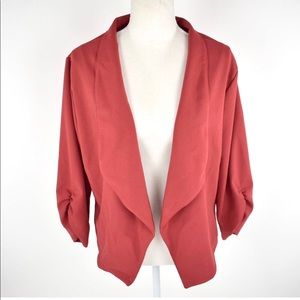 VKY & Co. Red Waterfall open lapel brick blazer XL